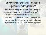 driving factors and trends in species endangerment55