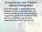 driving factors and trends in species endangerment59