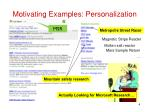 motivating examples personalization