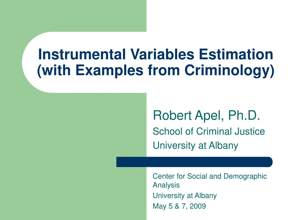 instrumental variables estimation with examples from criminology l.
