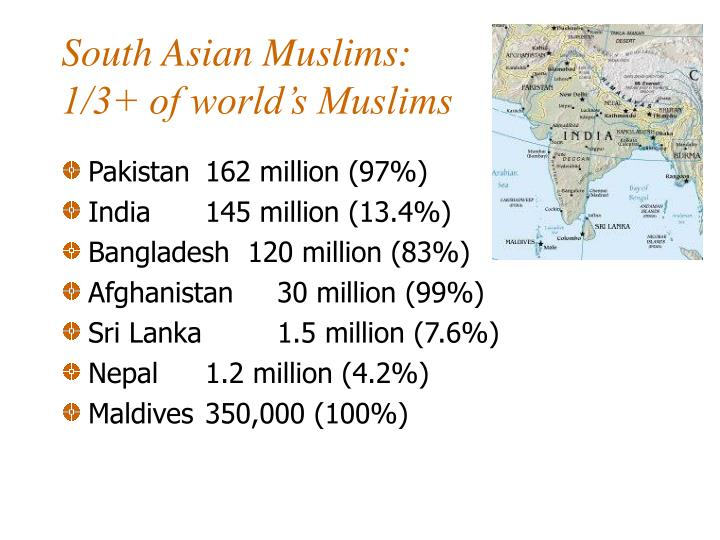 South asian muslims 1 3 of world s muslims