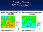 growing season aly forecast area
