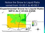 notice the snow to liquid ratio varied from 10 20 1 to 40 50 1