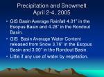 precipitation and snowmelt april 2 4 2005