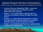spatial analyst surface interpolators these create a continuous surface from sampled input points