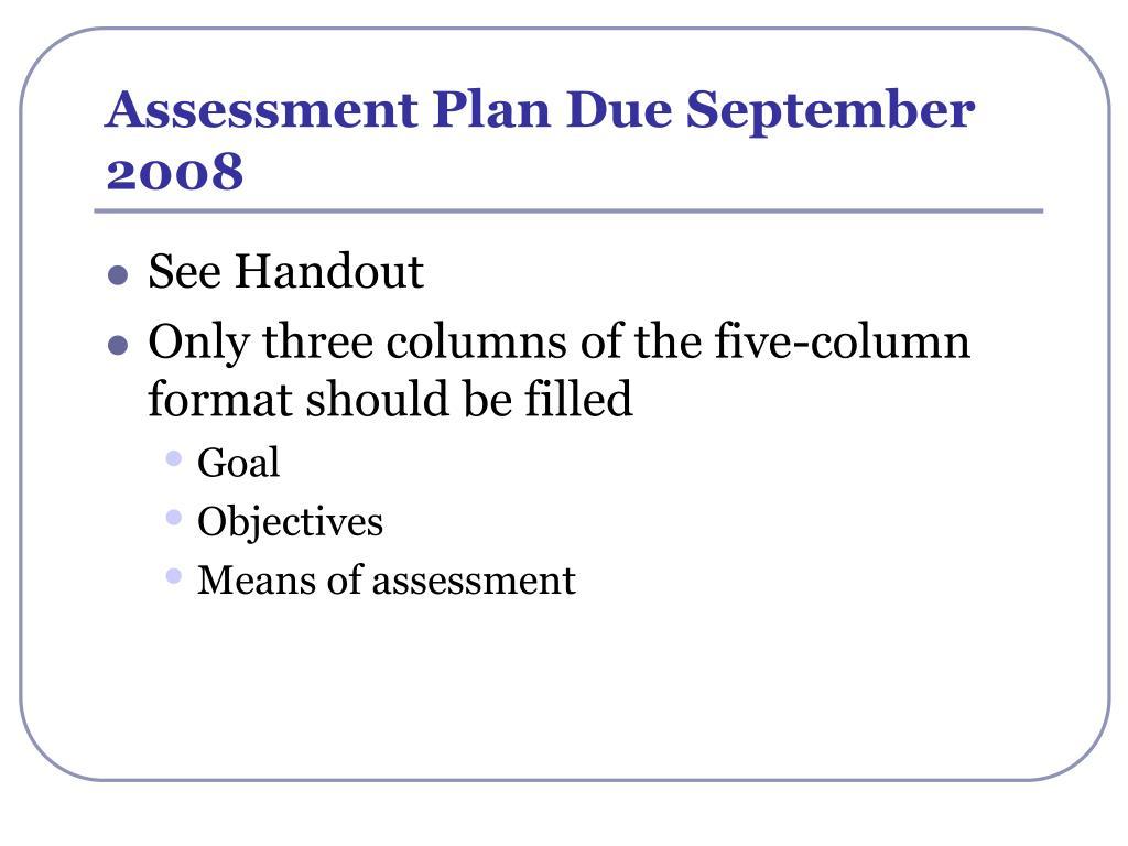 Assessment Plan Due September 2008