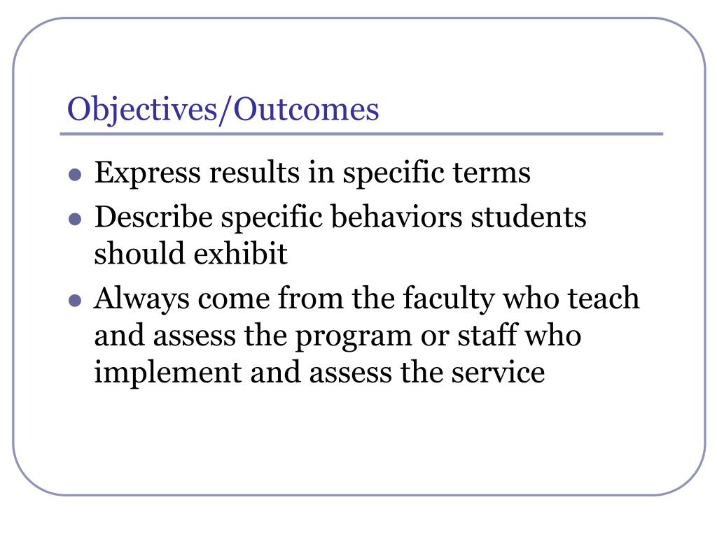 Objectives/Outcomes