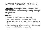 model education plan cont d