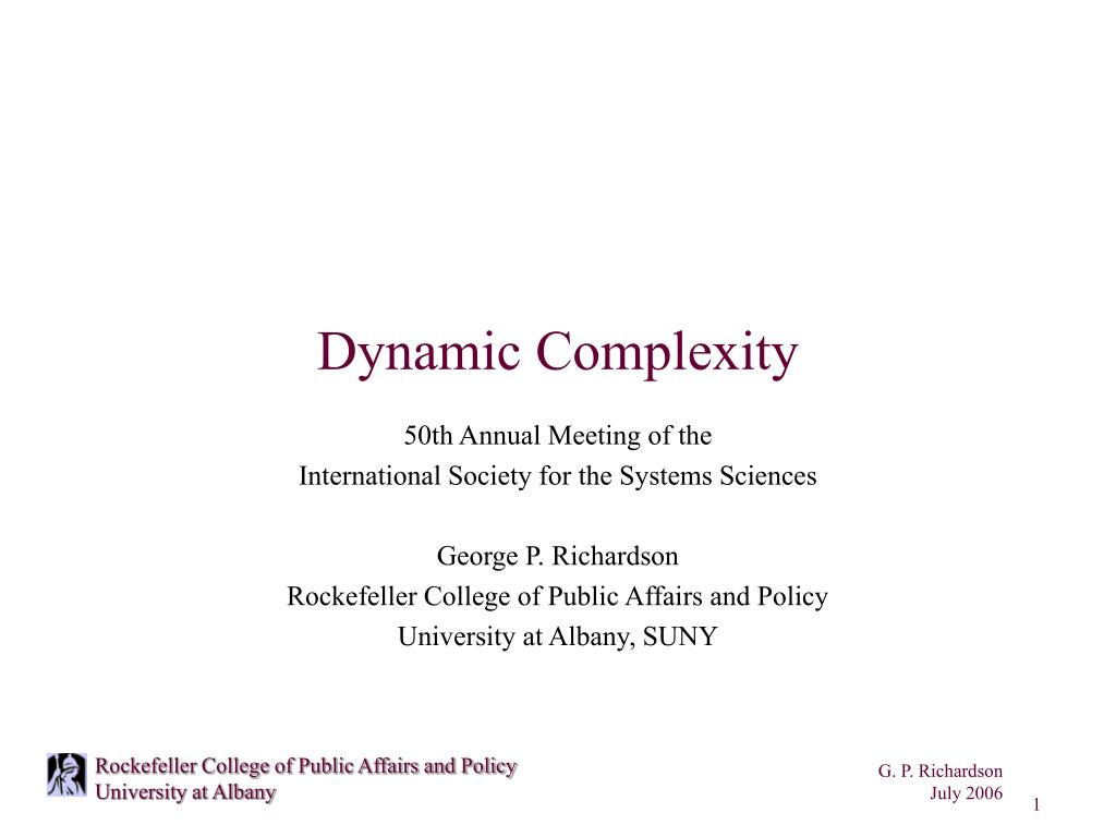 dynamic complexity l.