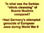 to what was the serbian ethnic cleansing of bosnia muslims compared