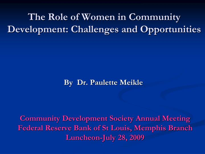the role of women in community development challenges and opportunities n.