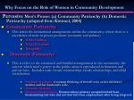 why focus on the role of women in community development6