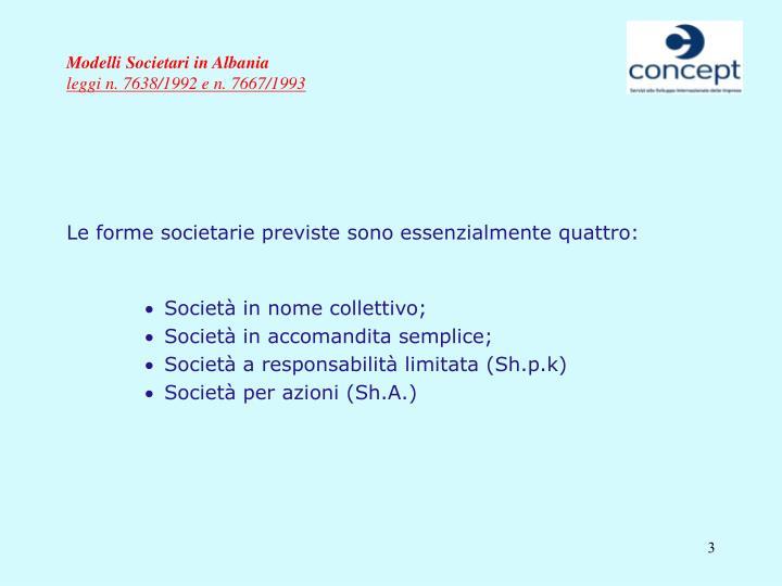 Modelli societari in albania leggi n 7638 1992 e n 7667 19933