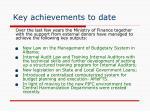 key achievements to date