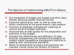 the objective of implementing amofts in albania