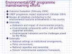 environmental gef programme mainstreaming efforts