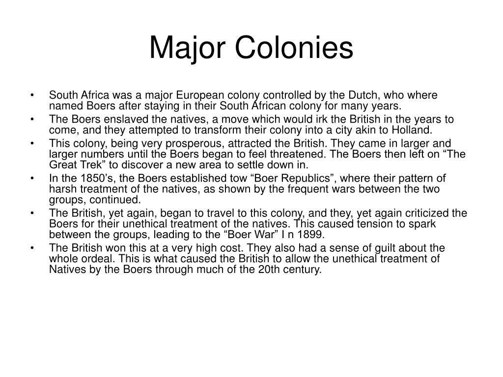 Major Colonies
