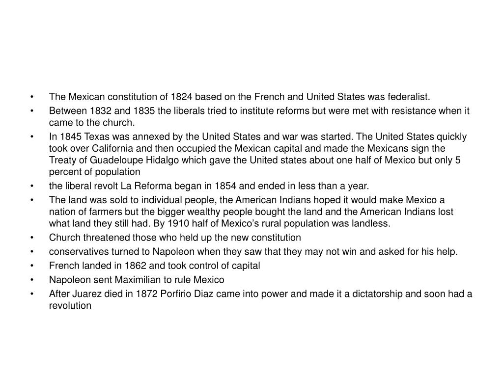 The Mexican constitution of 1824 based on the French and United States was federalist.
