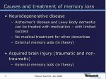 causes and treatment of memory loss