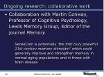 ongoing research collaborative work18