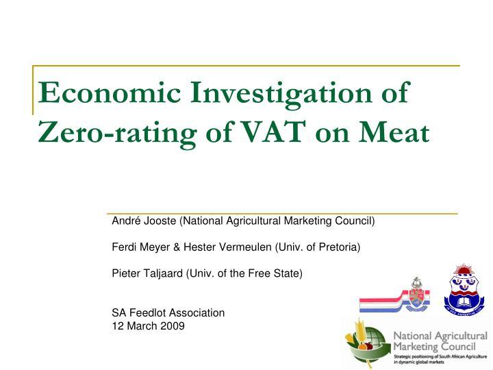 Economic investigation of zero rating of vat on meat