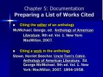 chapter 5 documentation preparing a list of works cited10