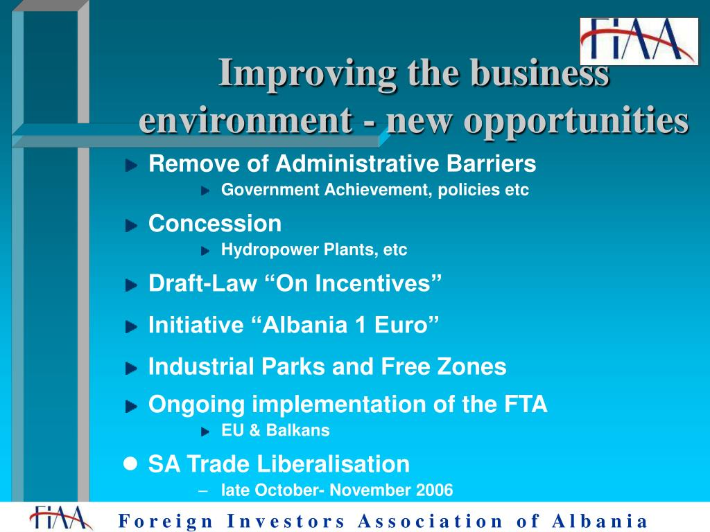 Improving the business environment - new opportunities