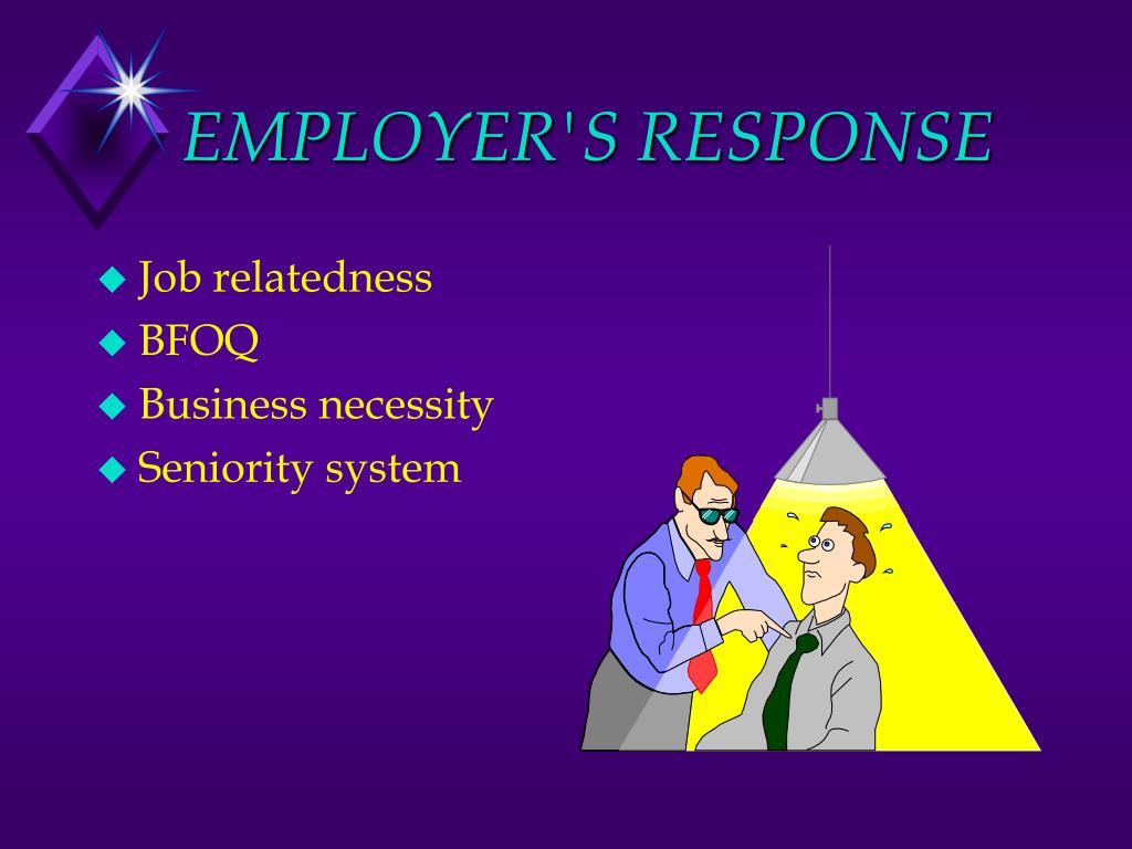 EMPLOYER'S RESPONSE