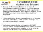 participaci n de los movimientos sociales