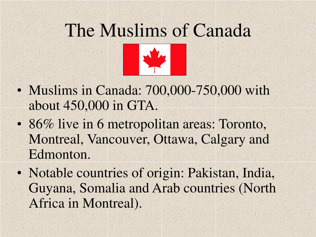 Muslims in Canada: 700,000-750,000 with about 450,000 in GTA.