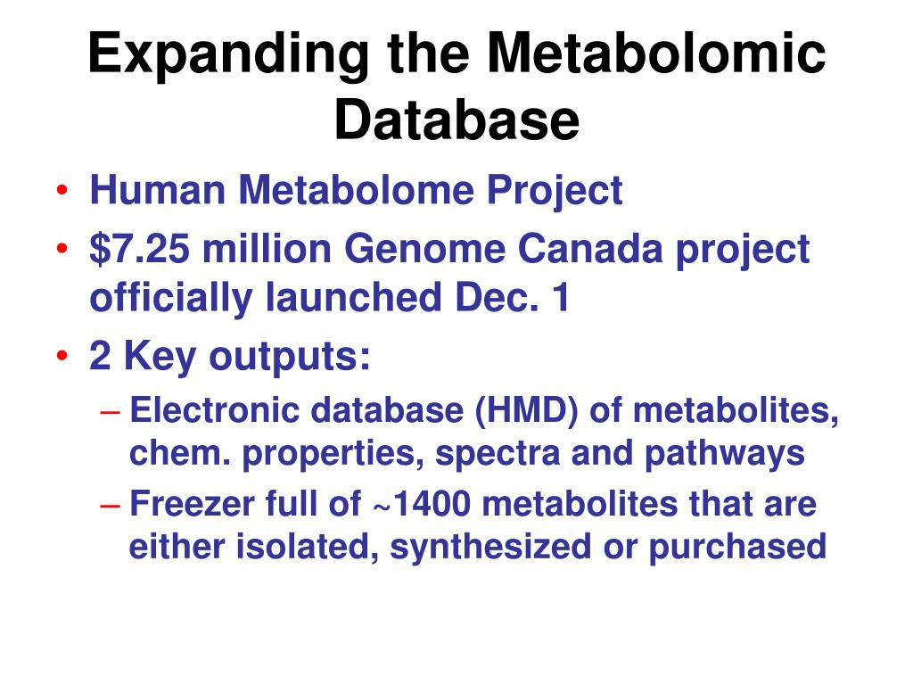 Expanding the Metabolomic Database