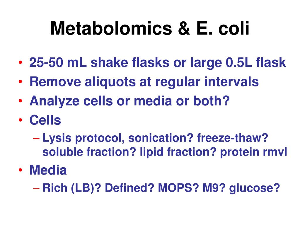 Metabolomics & E. coli