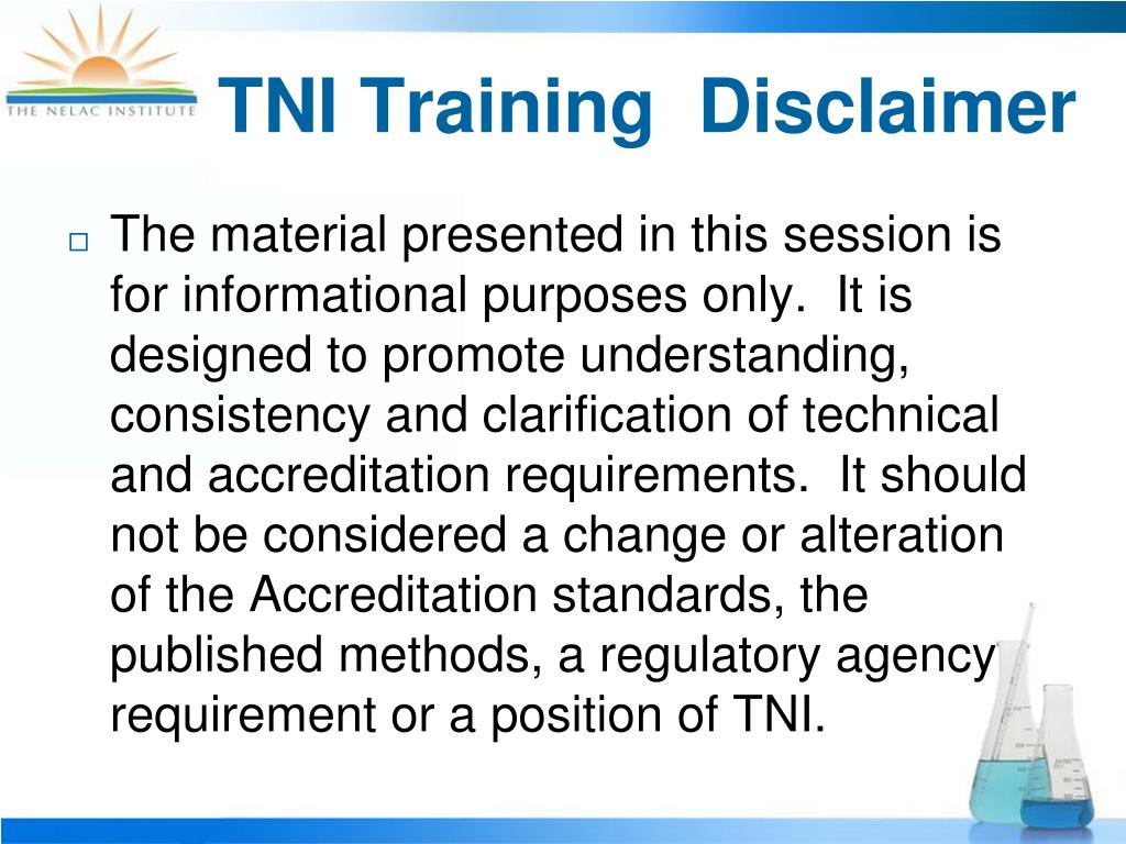 TNI Training  Disclaimer
