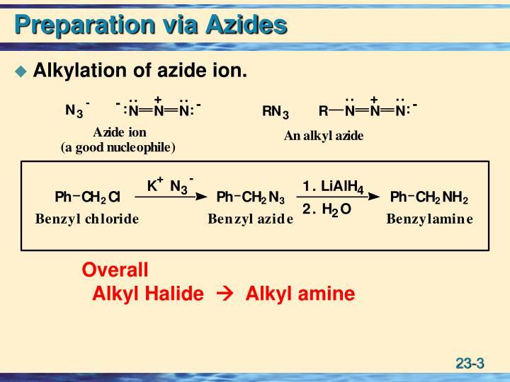 Preparation via azides