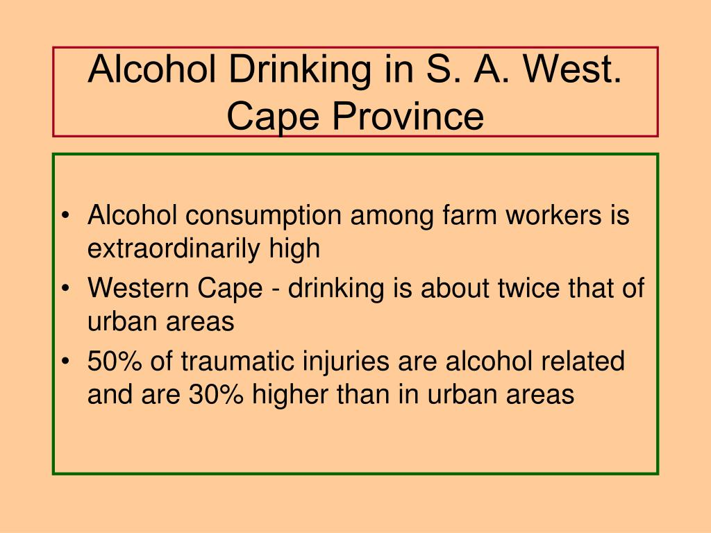 Alcohol Drinking in S. A. West. Cape Province
