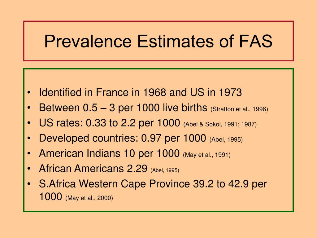 Prevalence Estimates of FAS