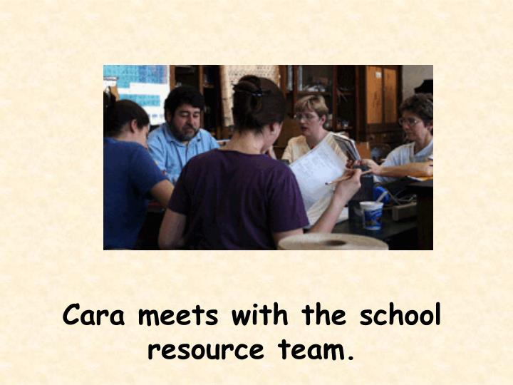 Cara meets with the school resource team.