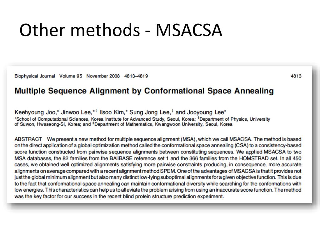 Other methods - MSACSA