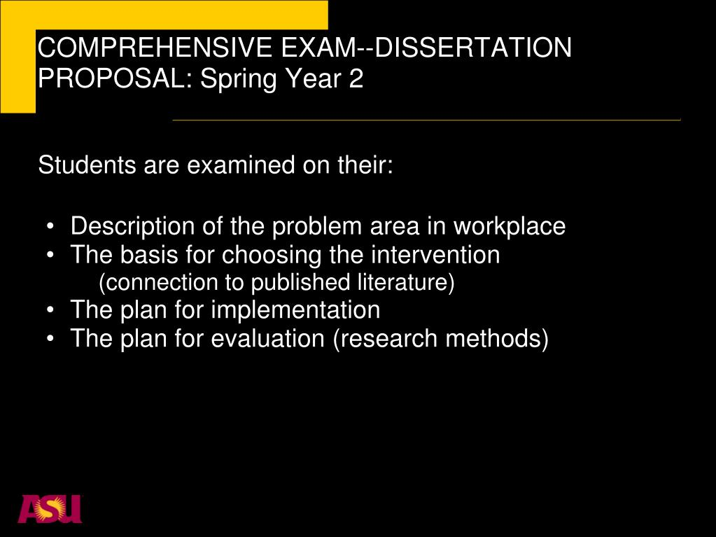 COMPREHENSIVE EXAM--DISSERTATION PROPOSAL: Spring Year 2