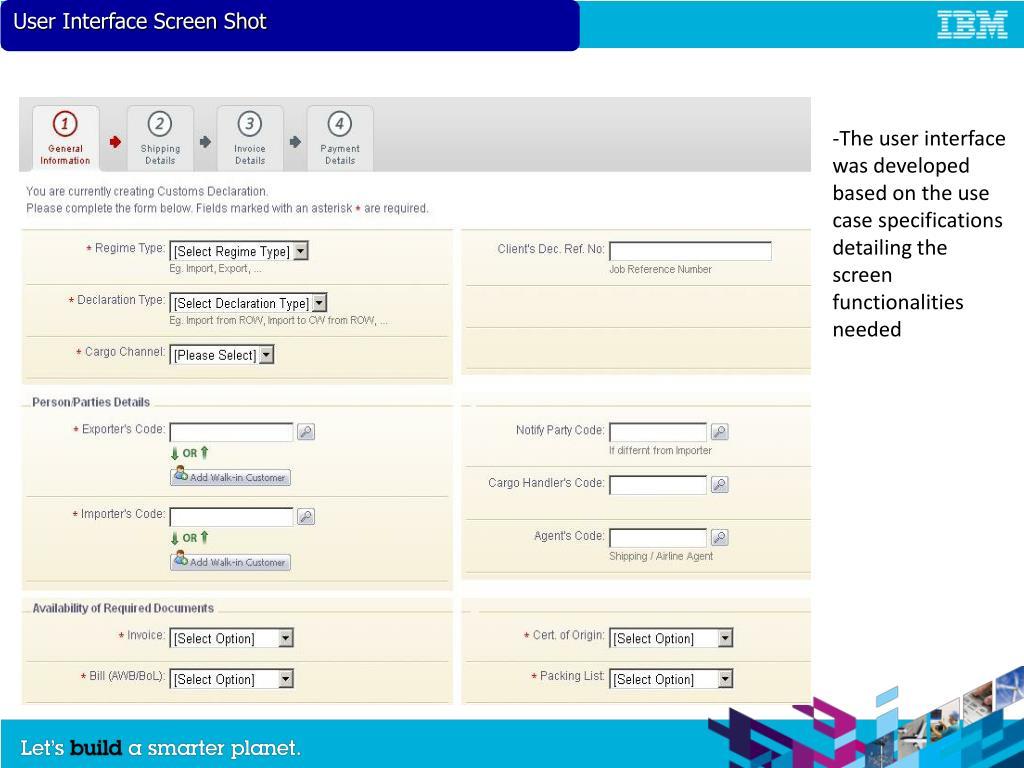 User Interface Screen Shot