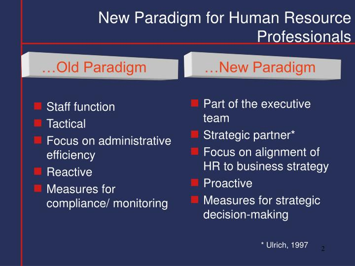 New paradigm for human resource professionals