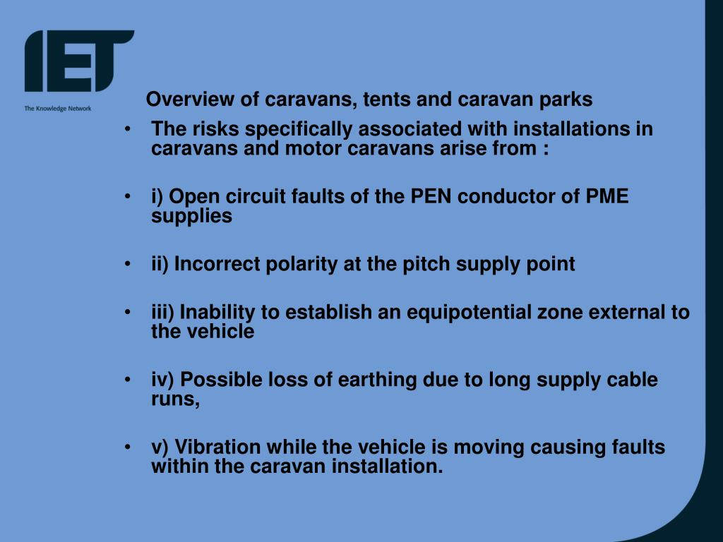 Overview of caravans, tents and caravan parks