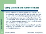 using bulleted and numbered lists