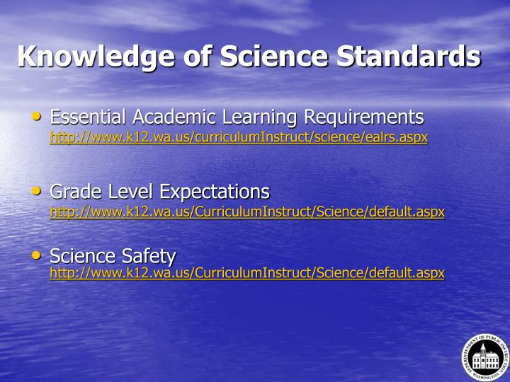 Knowledge of Science Standards