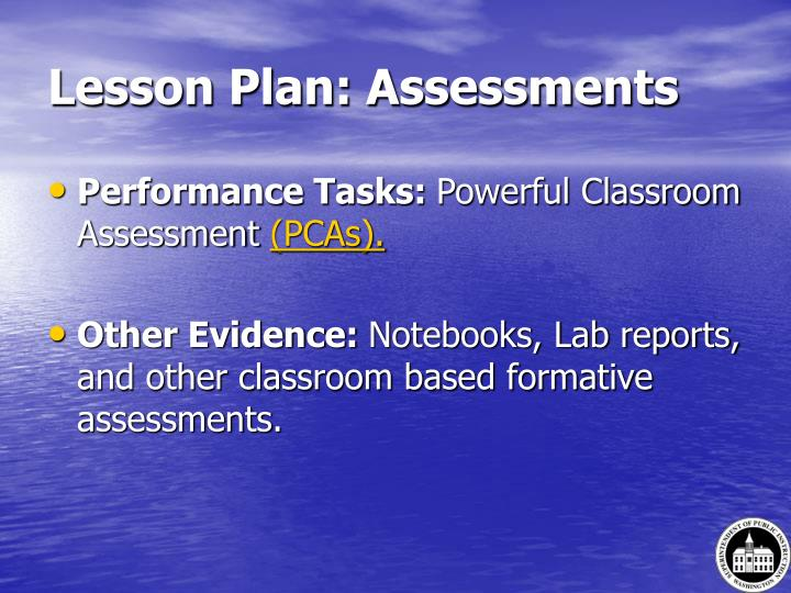 Lesson Plan: Assessments