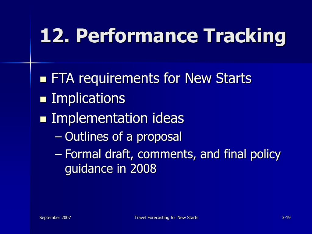 12. Performance Tracking