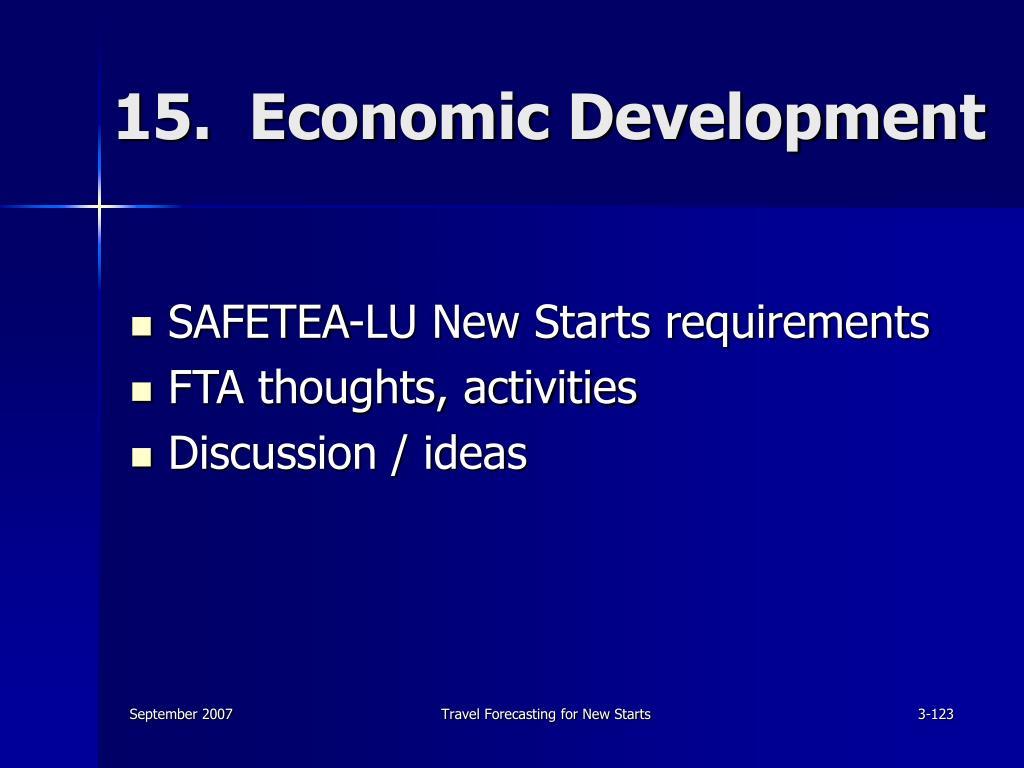 15.  Economic Development