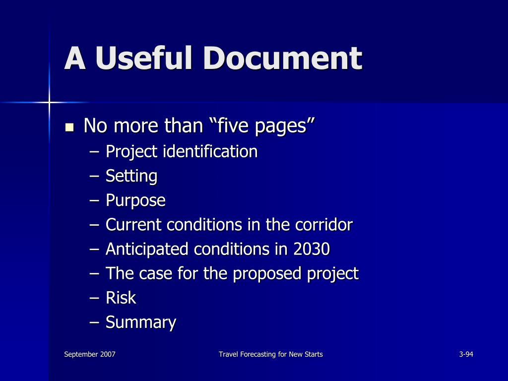 A Useful Document