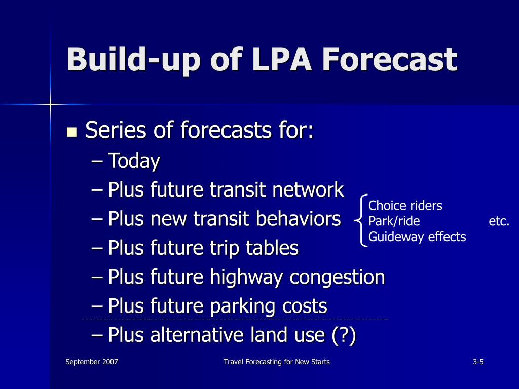 Build-up of LPA Forecast