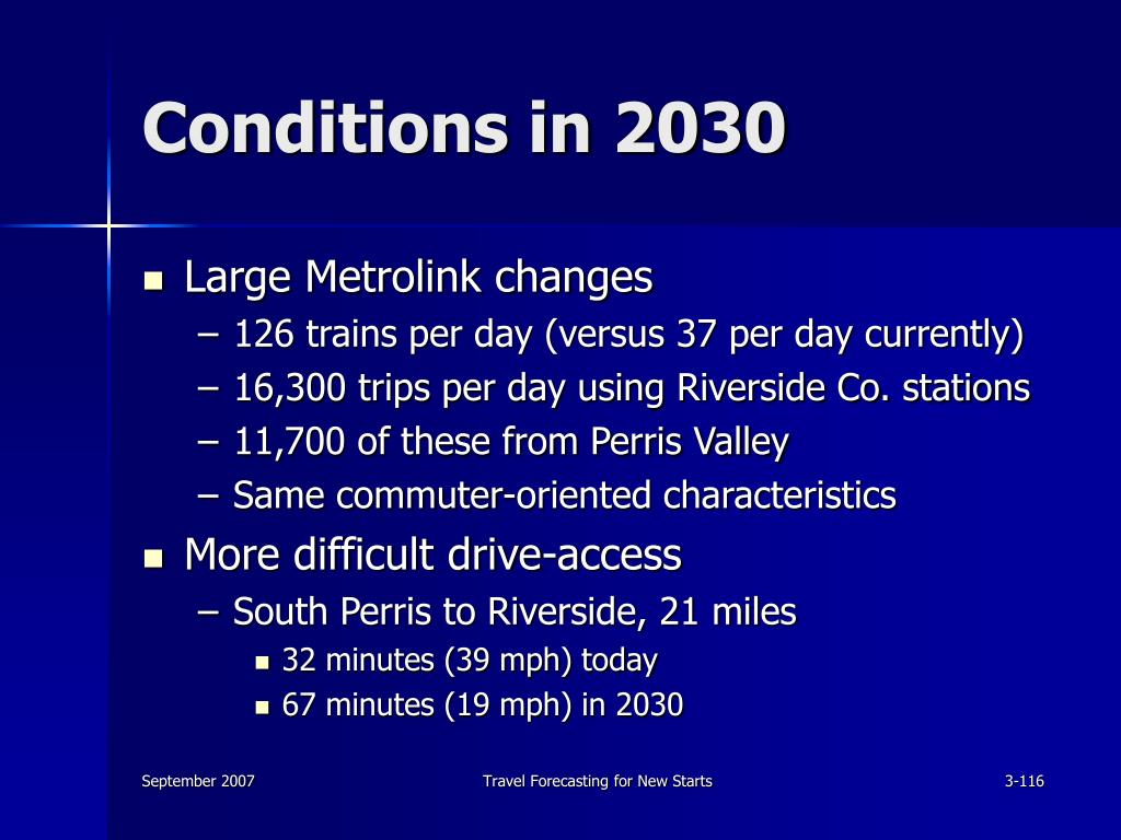Conditions in 2030